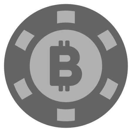 Bitcoin gray casino chip pictograph. Vector style is a gray silver flat gamble token item. Ilustracja