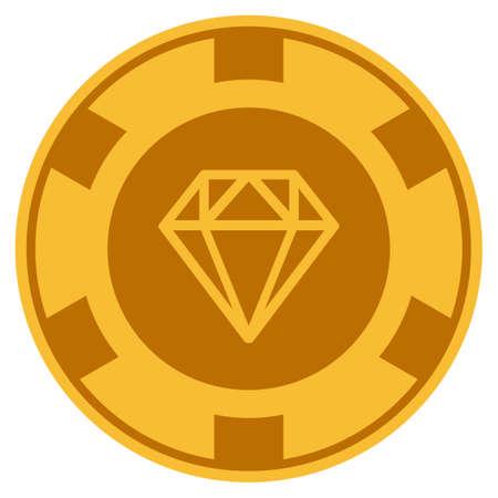 Diamond golden casino chip pictogram. Raster style is a gold yellow flat gambling token symbol.