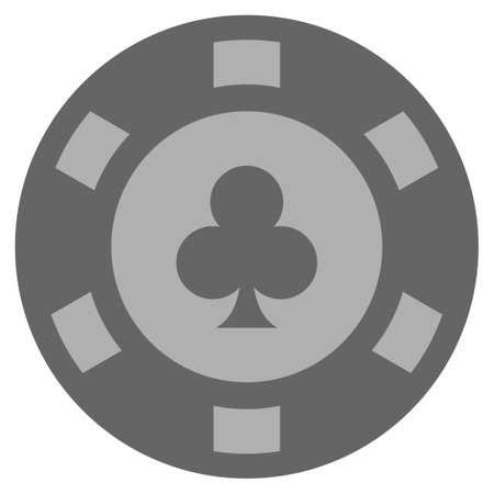 Clubs Suit silver casino chip icon. Vector style is a grey silver flat gamble token symbol.