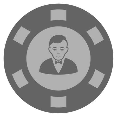 Croupier Dealer gray casino chip icon. Vector style is a grey silver flat gambling token symbol. Illustration