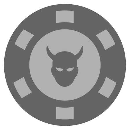 Devil grey casino chip icon. Vector style is a grey silver flat gambling token symbol. Ilustração
