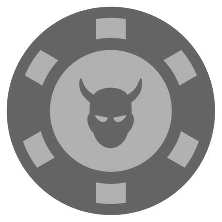 Devil grey casino chip icon. Vector style is a grey silver flat gambling token symbol. Illustration