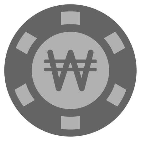 Korean Won gray casino chip pictograph. Vector style is a grey silver flat gamble token symbol.