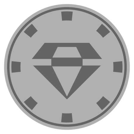 화려한 실버 카지노 칩 아이콘입니다. 벡터 스타일은 회색 은색 평면 도박 토큰 아이템입니다. 일러스트
