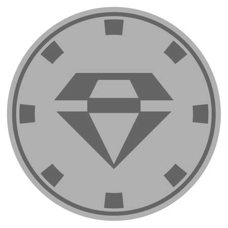 Brilliant silver casino chip icon. Vector style is a grey silver flat gamble token item.