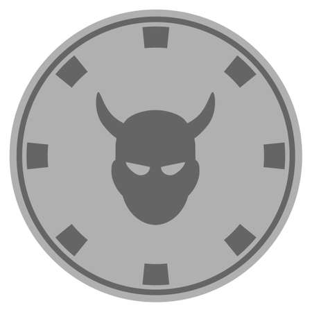 Devil silver casino chip pictograph. Vector style is a grey silver flat gamble token item. Ilustração