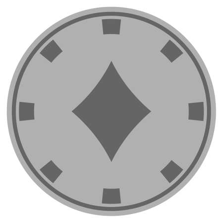 Diamonds Suit grey casino chip pictograph. Vector style is a grey silver flat gamble token item.