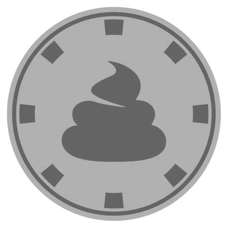 Shit grey casino chip icon. Vector style is a grey silver flat gambling token item.
