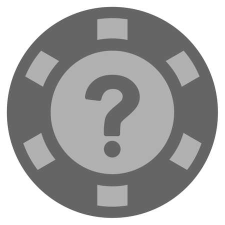 Question silver casino chip pictogram. Vector style is a gray silver flat gambling token item.