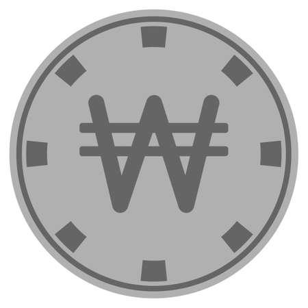 Koreaanse won zilveren casino chip pictogram. Vectorstijl is een grijs zilver plat gokfiche symbool.