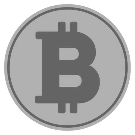 Bitcoin silver coin icon. Vector style is a silver grey flat coin symbol.