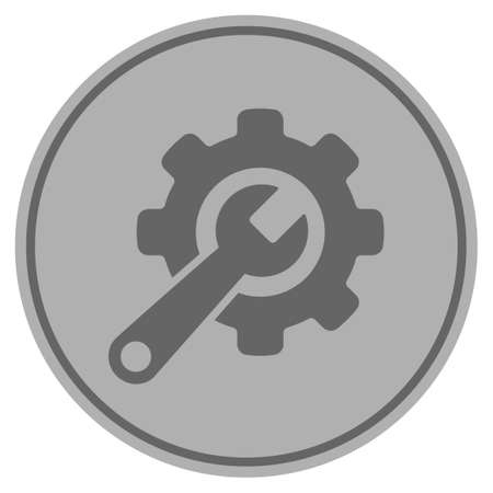 Tools silver coin icon. Vector style is a silver gray flat coin symbol.