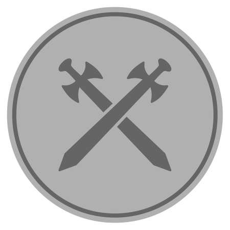 Icône de pièce d'argent épées médiévales. Le style de vecteur est un symbole de pièce plate gris argenté. Banque d'images - 92500555
