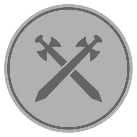 Middeleeuwse zwaarden zilveren munt pictogram. Vectorstijl is een zilvergrijs plat muntsymbool.