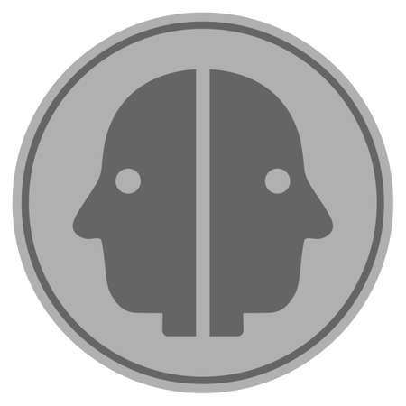 Dual Face silver coin icon. Vector style is a silver grey flat coin symbol.