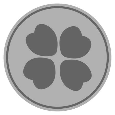 Four-Leafed Clover silver coin icon. Raster style is a silver gray flat coin symbol. Stock Photo