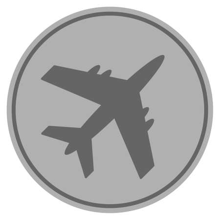 Aircraft silver coin icon. Vector style is a silver gray flat coin symbol.