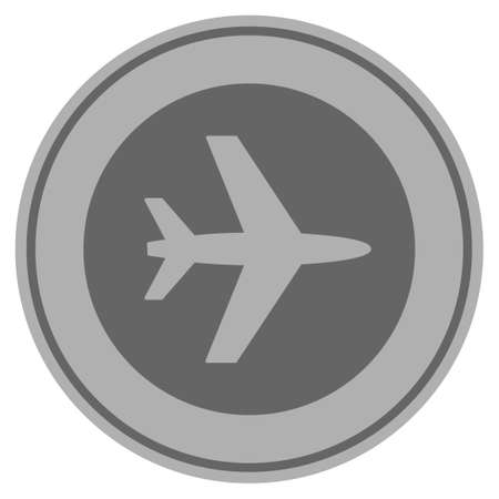 Airport silver coin icon. Vector style is a silver grey flat coin symbol. Illustration