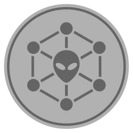 Alien network silver coin icon. Vector style is a silver gray flat coin symbol.