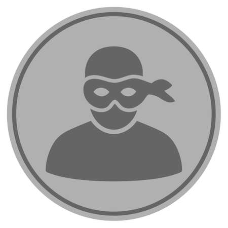 Anonymous thief silver coin icon. Vector style is a silver gray flat coin symbol. 版權商用圖片 - 92467534