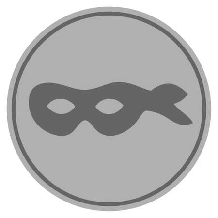 Anonymous mask silver coin icon. Vector style is a silver grey flat coin symbol.