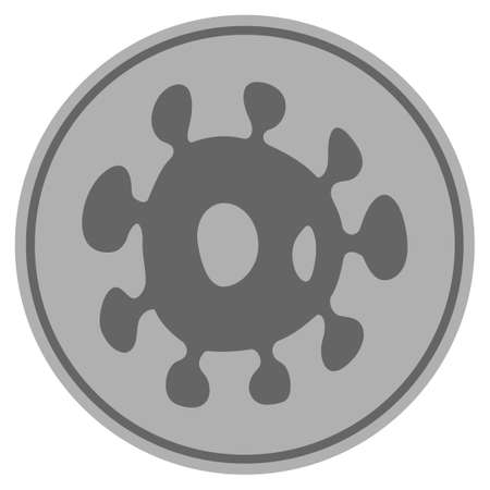 Bacteria silver coin icon. Vector style is a silver gray flat coin symbol. Illustration