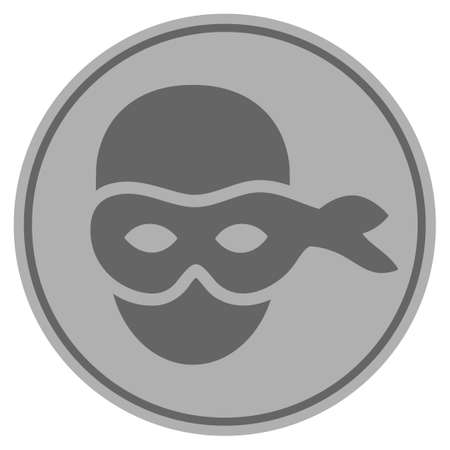 Anonymous head silver coin icon. Vector style is a silver gray flat coin symbol.