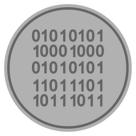 Binary code silver coin icon. Vector style is a silver grey flat coin symbol. Illusztráció