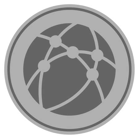Browser silver coin icon. Vector style is a silver gray flat coin symbol.