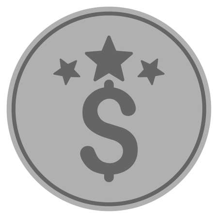 Business stars silver coin icon. Vector style is a silver grey flat coin symbol.
