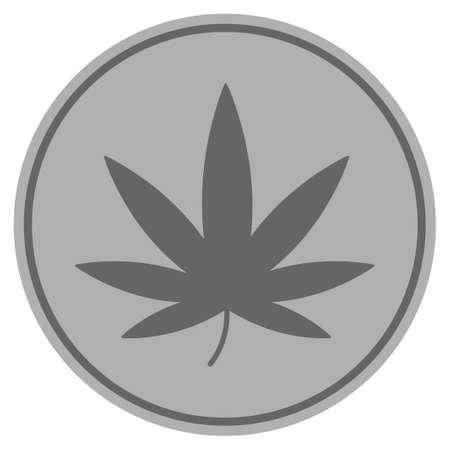 Cannabis silver coin icon. Vector style is a silver gray flat coin symbol.