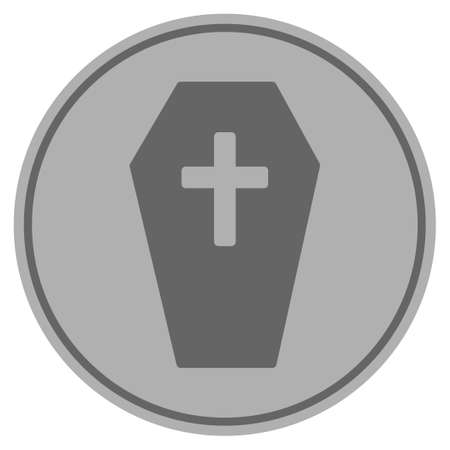 Coffin silver coin icon. Vector style is a silver grey flat coin symbol. Illustration
