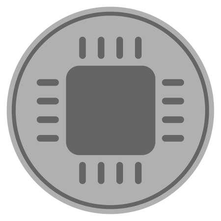 Cpu chip silver coin icon. Vector style is a silver grey flat coin symbol. Vectores