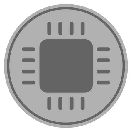 Cpu chip silver coin icon. Vector style is a silver grey flat coin symbol. Illustration