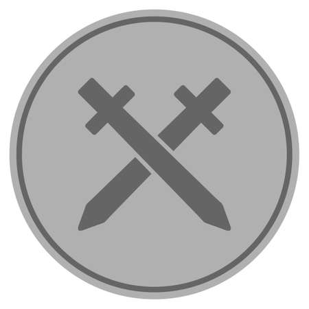 Crossing swords silver coin icon. Vector style is a silver grey flat coin symbol.