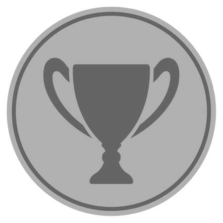 Cup silver coin icon. Vector style is a silver gray flat coin symbol.