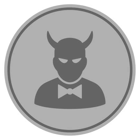 Devil silver coin icon. Vector style is a silver gray flat coin symbol. Illustration