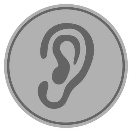 Ear silver coin icon. Vector style is a silver grey flat coin symbol. Çizim