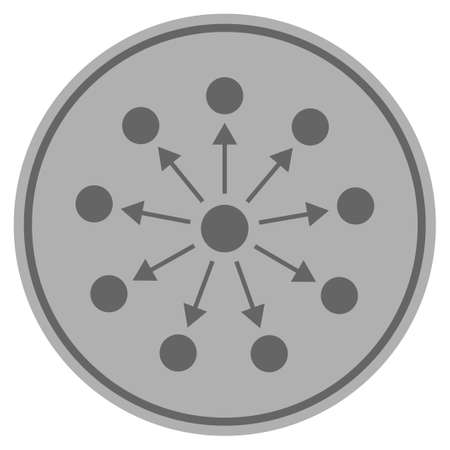 Expanse silver coin icon. Vector style is a silver gray flat coin symbol.