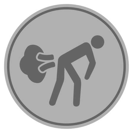 Fart gases silver coin icon. Vector style is a silver grey flat coin symbol. Illustration