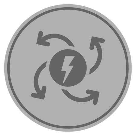 Electric generator silver coin icon. Vector style is a silver gray flat coin symbol.
