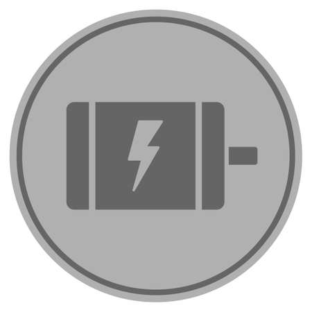 Electric Motor silver coin icon. Vector style is a silver gray flat coin symbol. Illustration