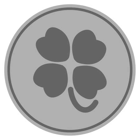 Four-leafed clover silver coin icon. Vector style is a silver grey flat coin symbol.
