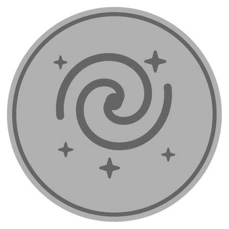 Galaxy stars silver coin icon. Vector style is a silver grey flat coin symbol. Иллюстрация