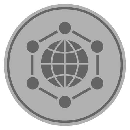 Global frame silver coin icon. Vector style is a silver grey flat coin symbol. Ilustração