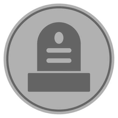 Grave silver coin icon. Vector style is a silver grey flat coin symbol.