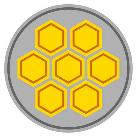 Honeycombs silver coin icon. Vector style is a silver grey flat coin symbol.