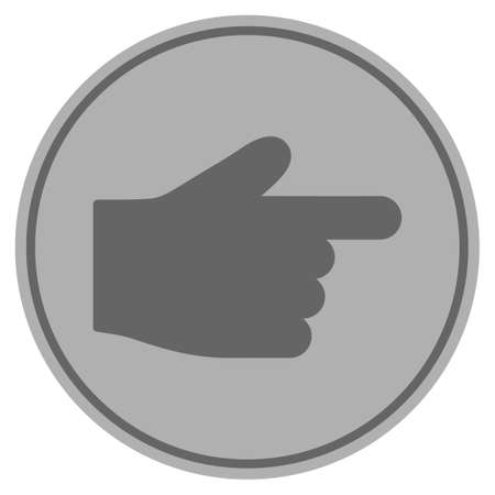 Index Finger Silver Coin Icon Vector Style Is A Silver Gray