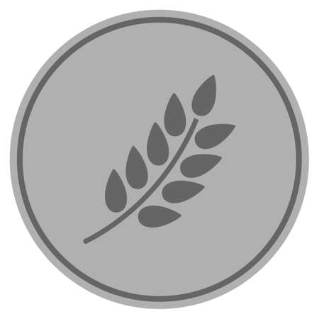 Leaf Branch silver coin icon. Vector style is a silver gray flat coin symbol.