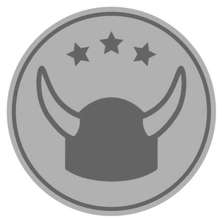 Horned Helmet silver coin icon. Vector style is a silver gray flat coin symbol.
